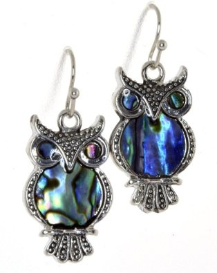 Byzantium Paua Shell Earrings Owl WahdIo