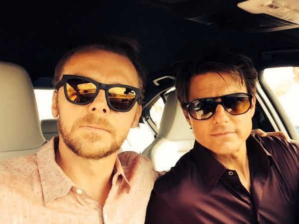 #‎GlassesOnline ‬ Benji Dunn (Simon Pegg) sure has a great sense of humour. Here he was, tweeting during the making of Mission: Impossible - Rogue Nation with spy hero Ethan Hunt (Tom Cruise) all geared up in shades. Shop a pair of cool sunglasses and look like a super spy too!