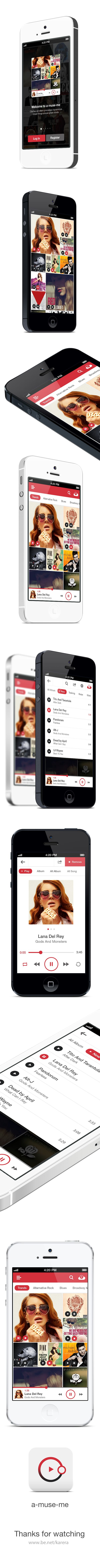 A-MUSE-ME. Music application by Alex Ds Karera, via Behance