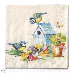 Serviettes papier 25cm nichoir mésanges fleurs