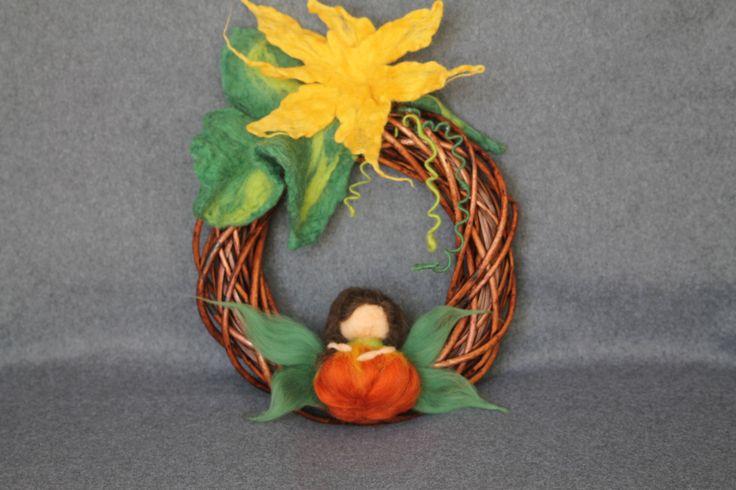 wreath on the door felted halloween: felted orange Pumpkin Fairy by…