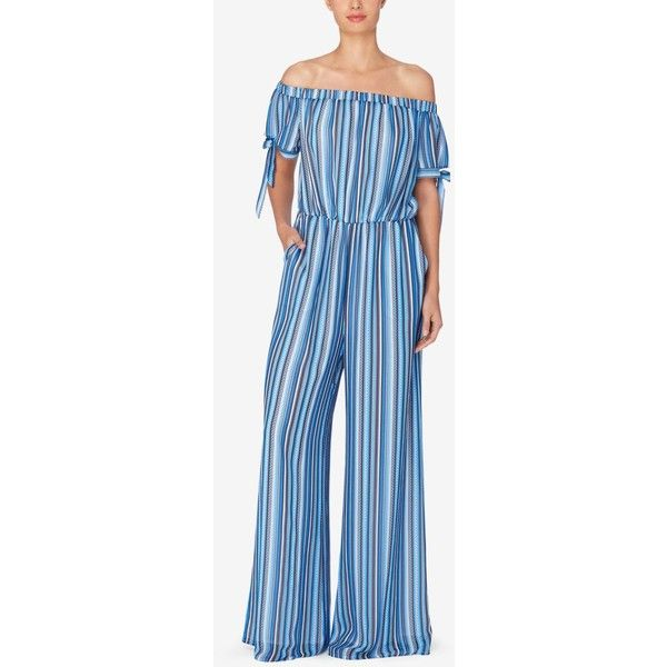 Catherine Catherine Malandrino Striped Off-The-Shoulder Jumpsuit ($90) ❤ liked on Polyvore featuring jumpsuits, chain stripe blue, blue jumpsuit, blue jump suit, catherine catherine malandrino, striped jumpsuit and off the shoulder jumpsuit