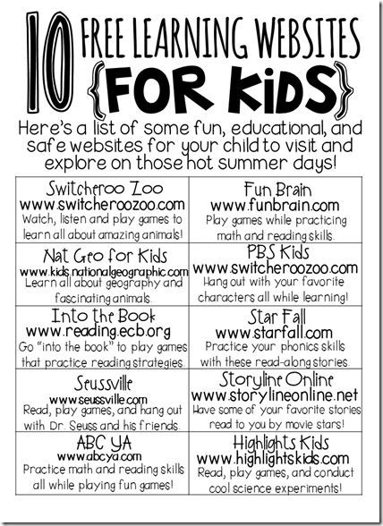 Fun, free and educational websites - Great list to share with parents.