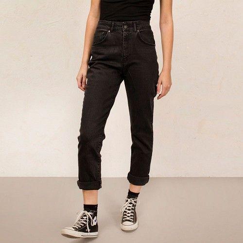Cougar Mom dames spijkerbroek jeans met hoge taille chrcoal grijs