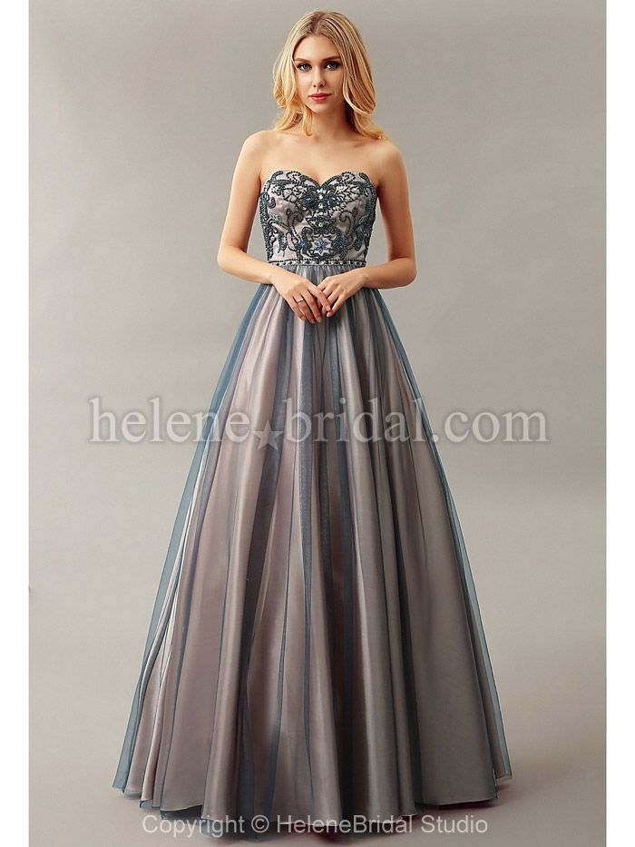 Helene bridal- A-Line Sweetheart Long / Floor-Length Satin Tulle Prom Dress - Style PD10267