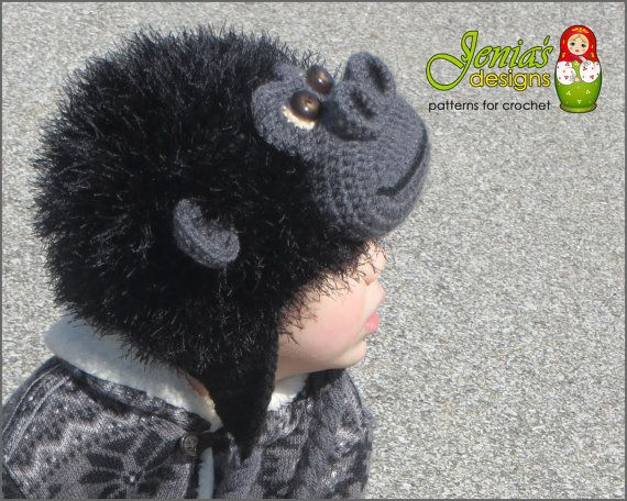 Crochet Monkey Hat  Gorilla Ape Hat  Made to by JENIASdesigns