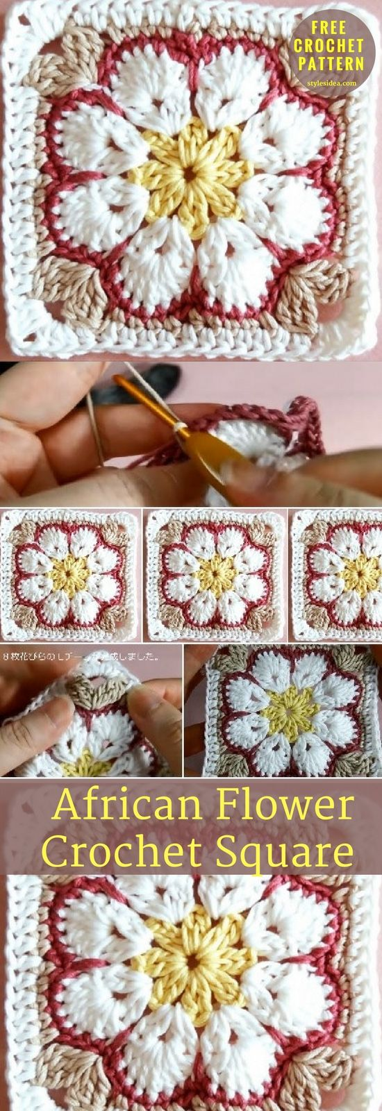 Square Motif → Blanket Level: upper beginner. yarn: Cotton 100% (Sport) Hook: 5/0(3.0mm). Author: parineko