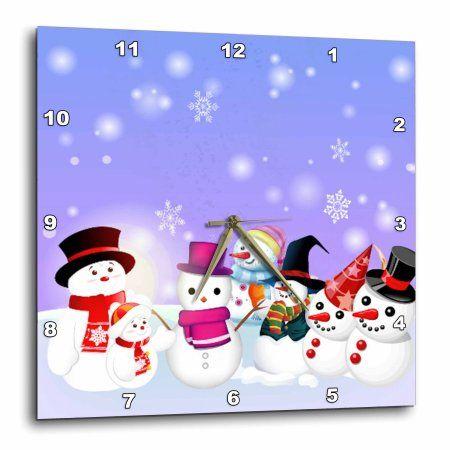 3dRose Snowman Party Cartoon, Wall Clock, 13 by 13-inch