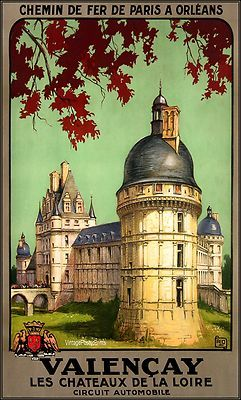 Valencay 1926 Chemin De Fer Paris a Orleans / Vintage Poster