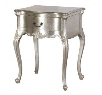 Tiffany 1 Drawer Silver French Style Bedside Table