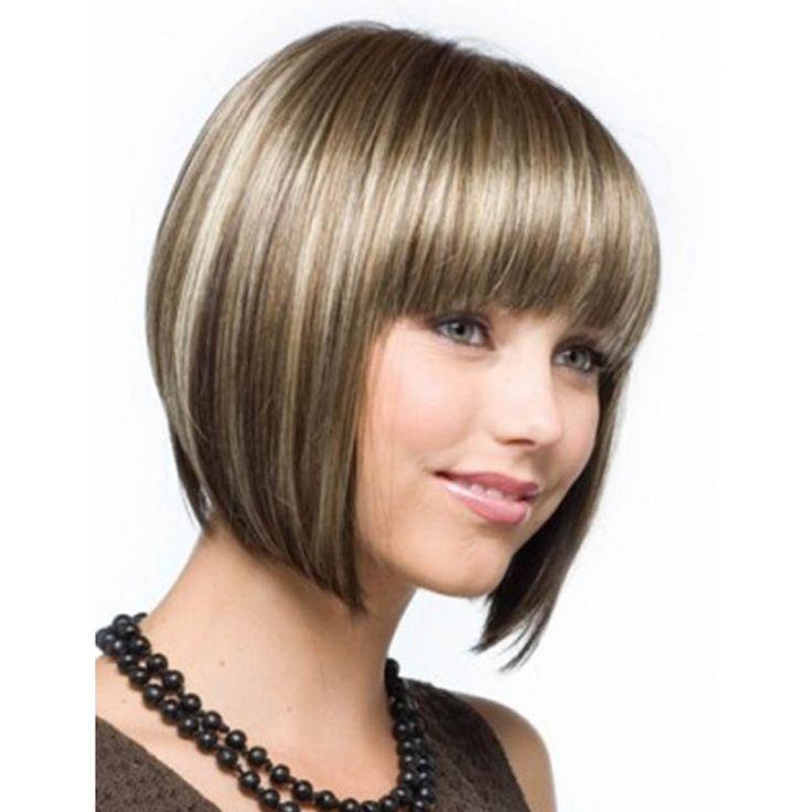 2016 Nouvelle Mode Couleur de Mélange Moyen Droite Bob Coiffure Synthétique Cheveux Perruques Pour Les Femmes Avec Une Frange Entière