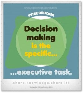 "Peter Drucker – ""Decision making is the specific executive task."""