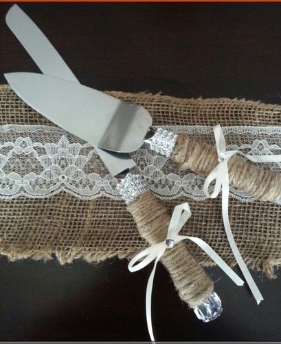 These are a little cool, pretty sure if you got some Ribbon, glue and bailling twine from bunnings you could make them!!   Most Popular Rustic Wedding Cake Servers | eBay