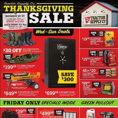 View the Tractor Supply Company Black Friday 2016 Ad with Tractor Supply Company deals and sales