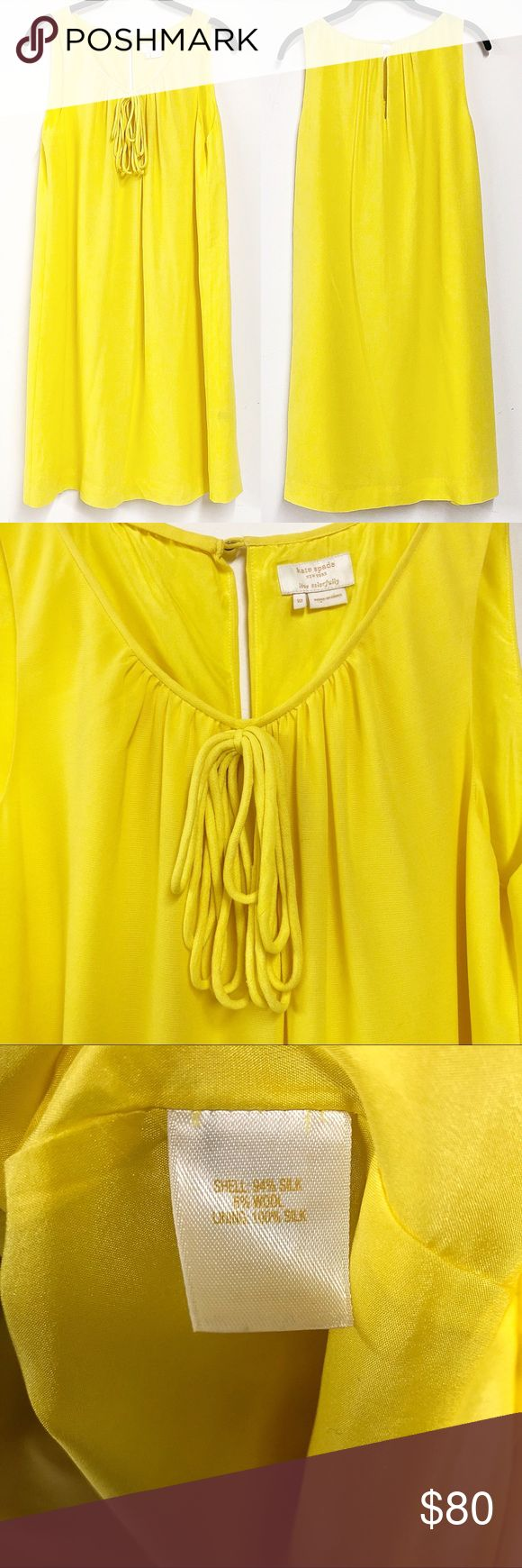 Kate Spade Dress Kate Spade bright yellow shift dress. 95% silk, 5% wool. Size 10. Excellent condition. Make an offer! kate spade Dresses