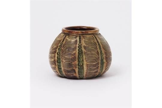 Lot 3 - A Martin Brothers stoneware miniature gourd vase by Edwin & Walter Martin, dated 1902, ovoid