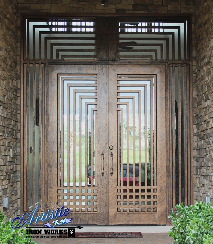 Wrought Iron and Glass Front Entry Door with Transom - Model: Escher GE0093