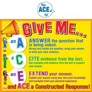 ace method for constructed response worksheets middle school
