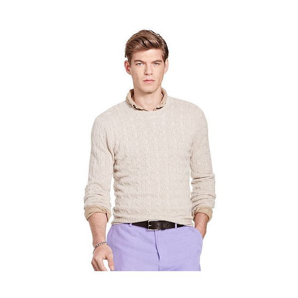 Polo Ralph Lauren Cable-Knit Cashmere Sweater (710 BAM) ❤ liked on Polyvore featuring men's fashion, men's clothing, men's sweaters, mens short sleeve sweater, mens cashmere sweaters, mens crew neck sweaters, mens cable knit crew neck sweater and mens cable sweater