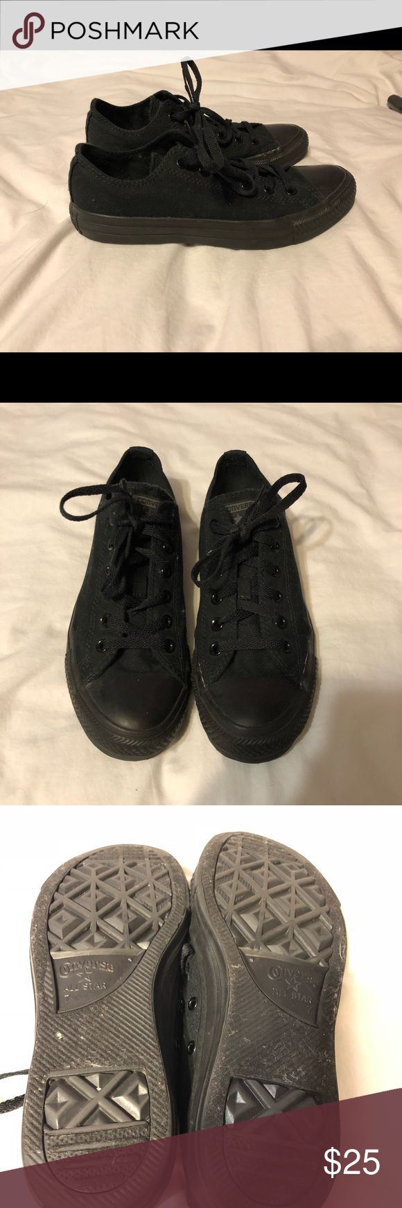 All Black Converse Low Tops Never worn all black converse low tops Converse Shoes Sneakers