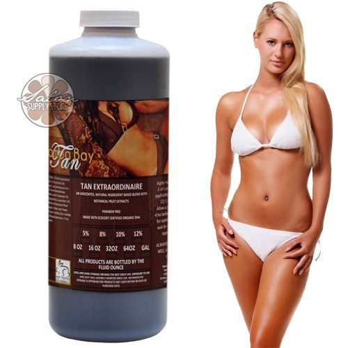Medium Tanning 8% DHA Solution Airbrush Spray TAN EXTRAORDINAIRE 32 oz Sunless by Tampa Bay Tan. $44.99. Organic Aloe Barbadensis. Caramel and Walnut Extract. Lavender Essential Oil. Vegetable Glycerin. Eco-Certified DHA. This unique blend of natural ingredients will keep skin moisturized, radiant and hydrated throughout the tanning process. Unlike many other tanning solutions, Tan Extraordinaire Spray Tanning Solution does NOT use alcohol or other harsh ingredients w...