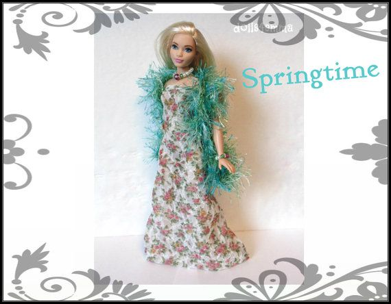 CURVY BARBIE Doll Clothes  Green Boa Floral Gown & by DOLLS4EMMA