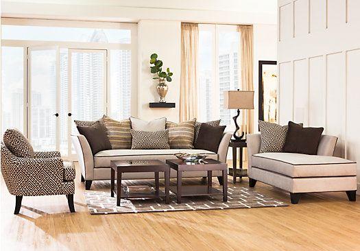 Sofia Vergara Santorini Beige 7 Pc Living Room Classic