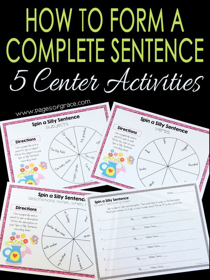 These fun center activities will give first and second grade students fun, hands on practice with building complete sentences. Kids learn to identify what is a complete sentence or fragment in the sentence sort, work with subjects and predicates, make sentences more interesting with adjectives, play a fun game to work on parts of a sentence, and more! Teaching and learning writing just got easier! Click on the picture to see the complete list of activities and more pictures.