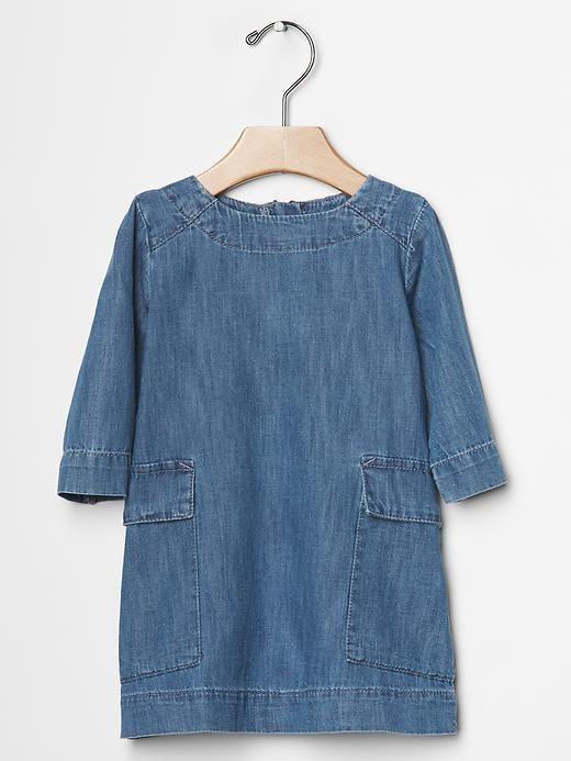 Chambray pocket shift dress