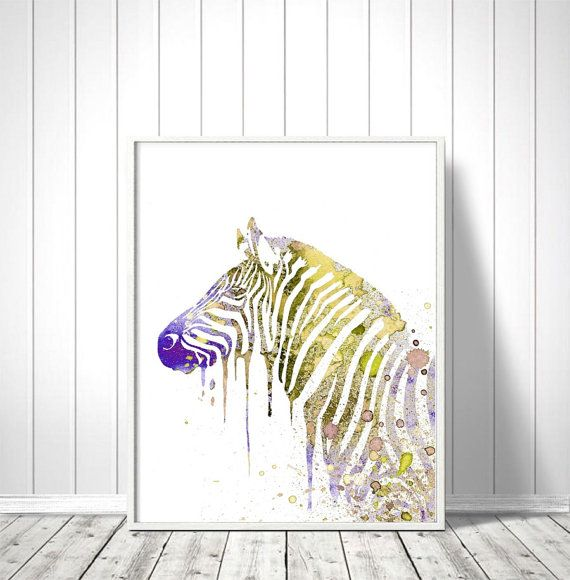 Zebra Nursery Art Nursery Zebra Prints Baby Zebra Print Childrens Art Silhouette Zebra Room Wall Art Watercolors Animal Prints Art Printable