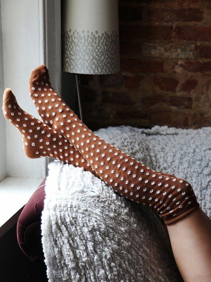 Knee high socks and polka dots! #warm #winter #home