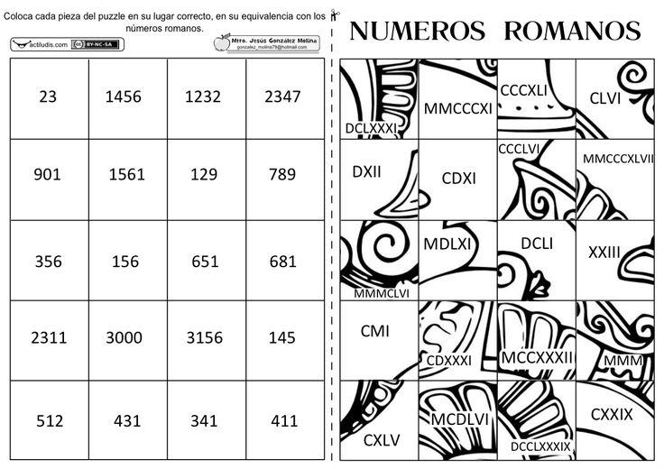 Puzzle de numeros romanos
