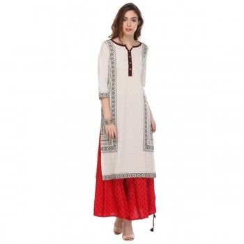 Cotton White Printed Stitched Kurti With Palazzo - S165158P1