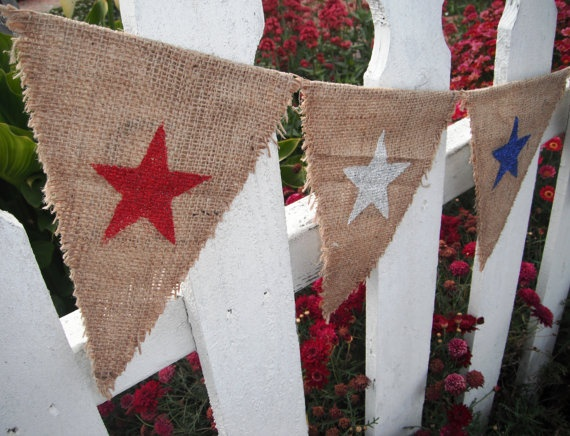 July Fourth 4th of July Burlap Banner REVERSIBLE  by SawdustMarket, $25.00