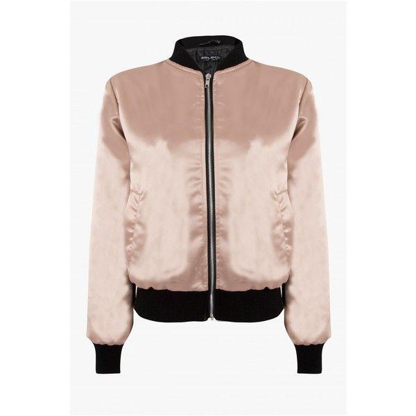 SATIN BOMBER JACKET ($43) ❤ liked on Polyvore featuring outerwear, jackets, pink satin jacket, blouson jacket, pink jacket, flight jacket and bomber style jacket