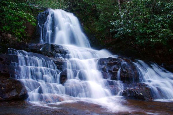 Laurel Falls in the Great Smoky Mountains {TN}. I saw this on my honeymoon and want to go back.
