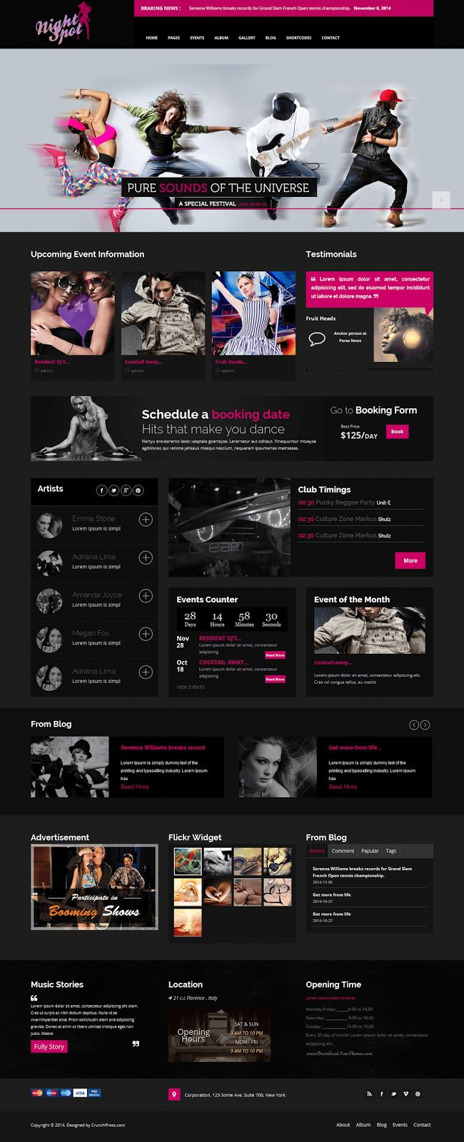 SEO Friendly Night Club Responsive #WordPress Theme #webdesign #clubs #musician #template