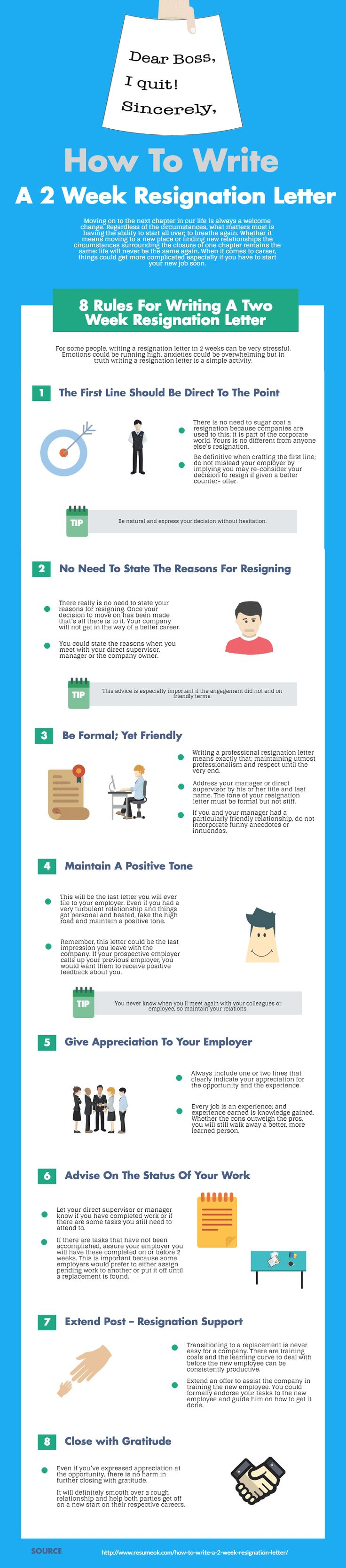 mejores ideas sobre resignation sample en carta de how to write a 2 week resignation letter infographic