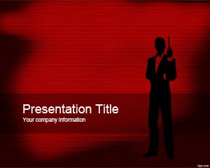 Plantilla gratis para PowerPoint de James Bond con fondo rojo