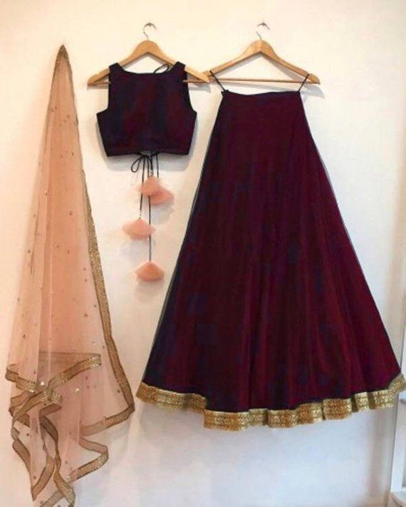 Red wine color lengha skirt and blouse crop top with contrast blush peach/ mint green dupatta indian wedding bridesmaid indo western dress