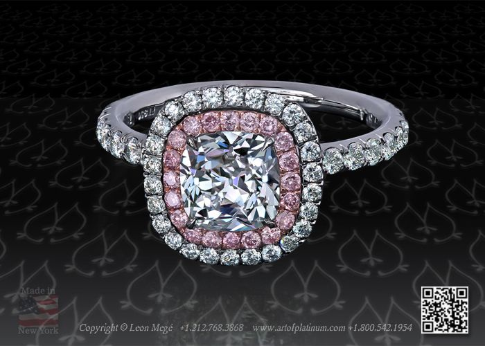 Double halo micro pave engagement ring with pink diamonds in rose gold by Leon Mege