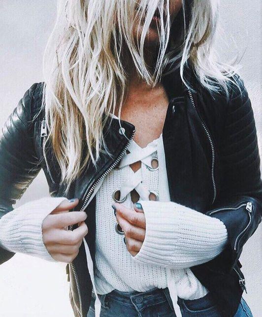 lace up ribbed sweater + moto jacket