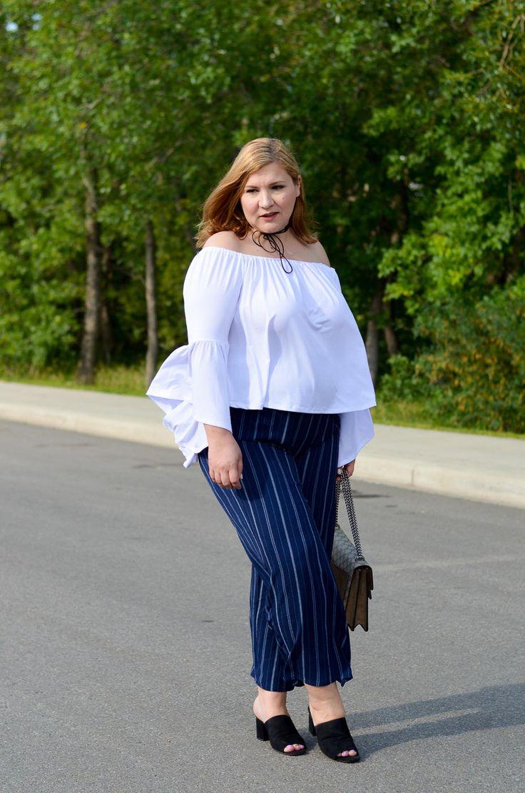 off the shoulder top, stripes, Asos pants, Gucci bag, summer trends, plus size…