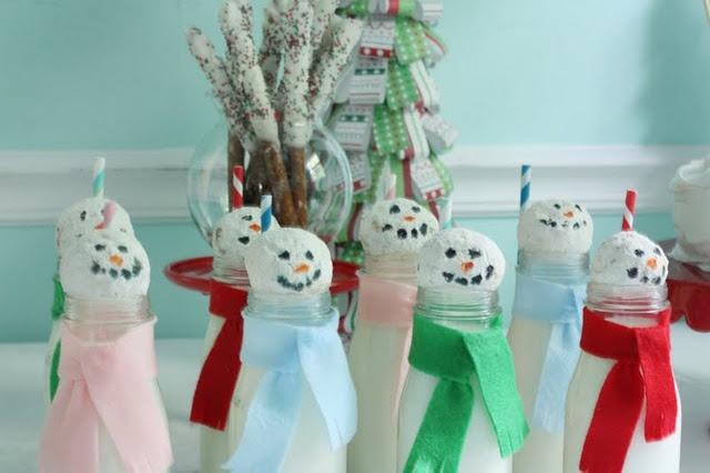 Milk and donut snowmen!