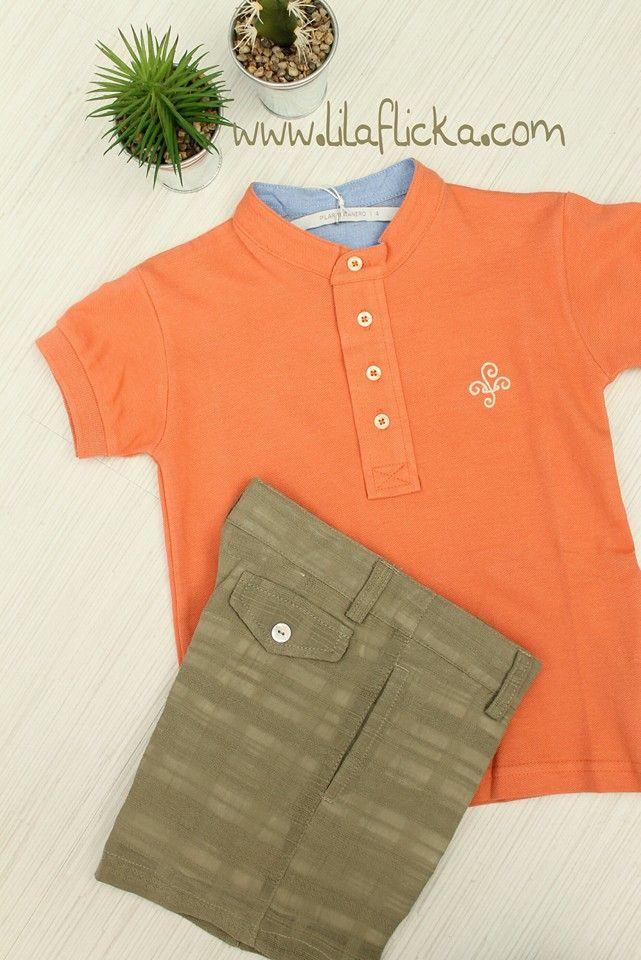 a231be938 Polo niño de cuello mao y manga corta en naranja mandarina de Pilar Batanero.  #