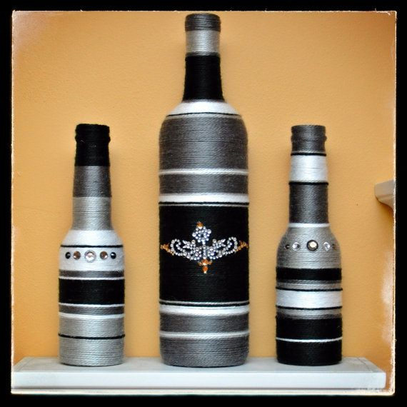 Decorated Bottles Black & Grey Set by ArtistikCrafts on Etsy