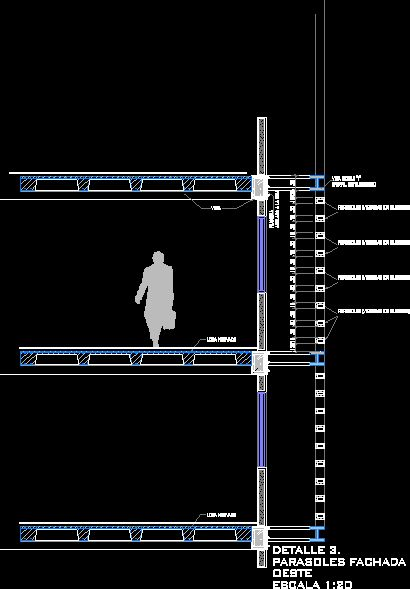 Detalle parasoles en corte dwgdibujo de autocad torre for Detalles autocad