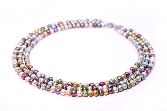 Luxurious Multi Colour Large Freshwater Pearl by Femalehappiness