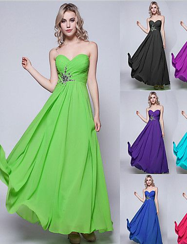 Floor-length Chiffon Bridesmaid Dress - Black / Lime Green / Fuchsia / Daffodil / Burgundy / Royal Blue / Silver / Pool / Ruby / Regency – USD $ 56.99