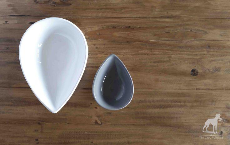 Ceramic bowls in white 275mm l x 195mm w x 90mm h  & grey 170mm l x 125mm w x 65mm h #homedecor #avo